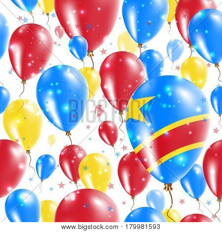 Dr Congo Independence Day Seamless Pattern. Flying Rubber Balloons In Colors Of The Congolese Flag.