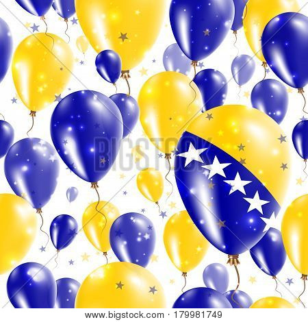 Bosnia Independence Day Seamless Pattern. Flying Rubber Balloons In Colors Of The Bosnian, Herzegovi