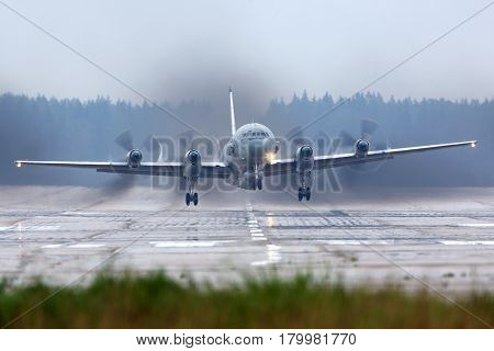 KUBINKA, MOSCOW REGION, RUSSIA - JUNE 14, 2015: Ilyushin Il-20M reconnaissance airplane takes off at Kubinka air force base.