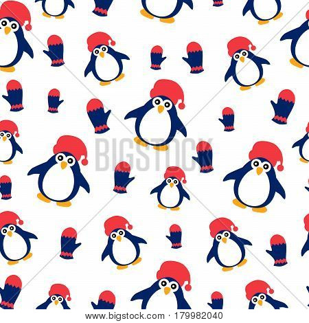 Winter Pattern With Penguins On White Background.