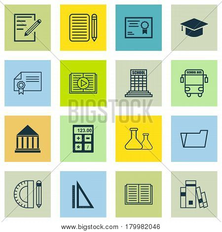 Set Of 16 Education Icons. Includes Document Case, Education Tools, Certificate And Other Symbols. Beautiful Design Elements.