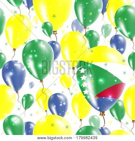 Comoros Independence Day Seamless Pattern. Flying Rubber Balloons In Colors Of The Comoran Flag. Hap