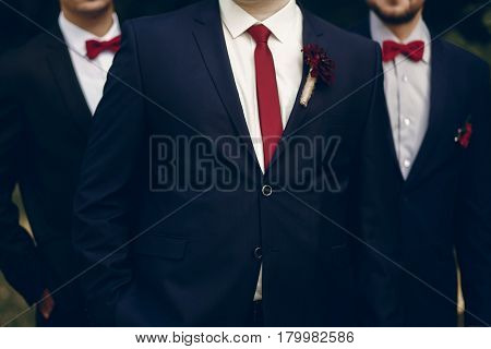 Handsome, Successful Groom Posing With Bestmen Outdoors, Group Shot Of Newlywed Groom Standing In Pa