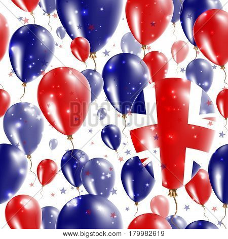 United Kingdom Independence Day Seamless Pattern. Flying Rubber Balloons In Colors Of The British Fl
