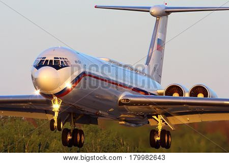 CHKALOVSKY, MOSCOW REGION, RUSSIA - JULY 18, 2013: Ilyushin IL-62M RA-86572 of Russian Air Force landing at Chkalovsky.
