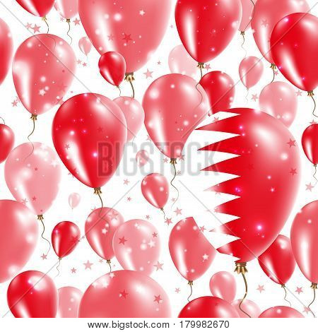 Bahrain Independence Day Seamless Pattern. Flying Rubber Balloons In Colors Of The Bahraini Flag. Ha
