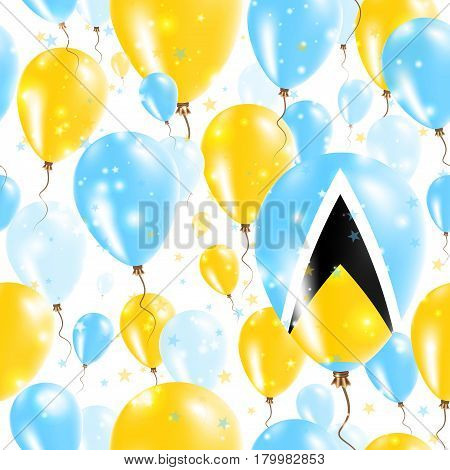 Saint Lucia Independence Day Seamless Pattern. Flying Rubber Balloons In Colors Of The Saint Lucian