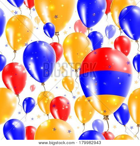 Armenia Independence Day Seamless Pattern. Flying Rubber Balloons In Colors Of The Armenian Flag. Ha