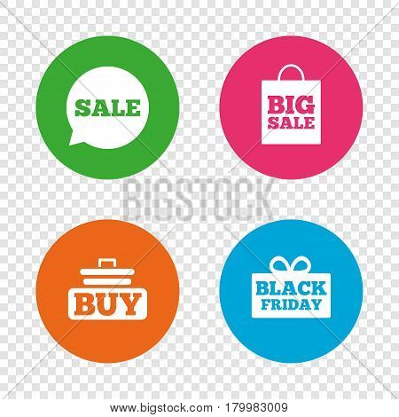 Sale speech bubble icons. Buy cart symbols. Black friday gift box signs. Big sale shopping bag. Round buttons on transparent background. Vector
