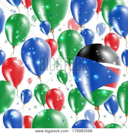 South Sudan Independence Day Seamless Pattern. Flying Rubber Balloons In Colors Of The South Sudanes