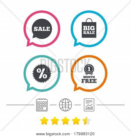 Sale speech bubble icon. Discount star symbol. Big sale shopping bag sign. First month free medal. Calendar, internet globe and report linear icons. Star vote ranking. Vector