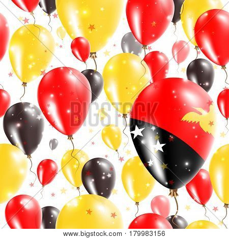 Papua New Guinea Independence Day Seamless Pattern. Flying Rubber Balloons In Colors Of The Papua Ne