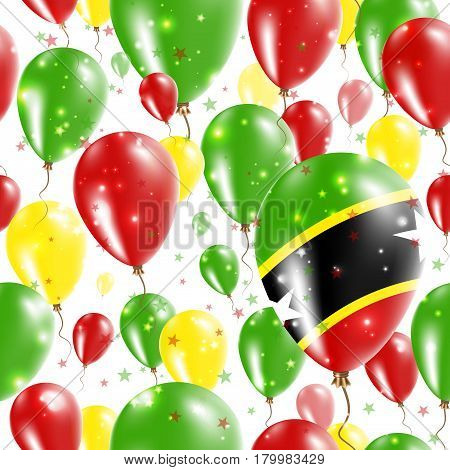 St. Kitts And Nevis Independence Day Seamless Pattern. Flying Rubber Balloons In Colors Of The Kitti