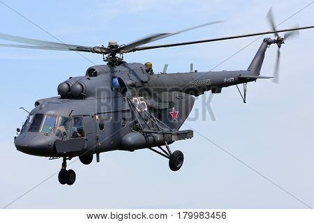 MOSCOW REGION, RUSSIA - MAY 9, 2015: Mil Mi-8AMTSH helicopter of Russian Air Force during Victory Day parade.