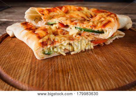 Pizza Calzone Food Italian Cuisine Sliced Restaurant Menu Photo Concept