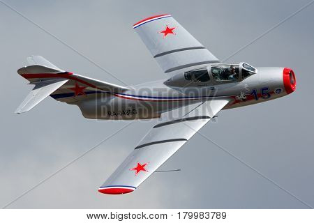 ZHUKOVSKY, MOSCOW REGION, RUSSIA - AUGUST 10, 2012: Private MiG-15UTI perfoming demonstration flight in Zhukovsky.