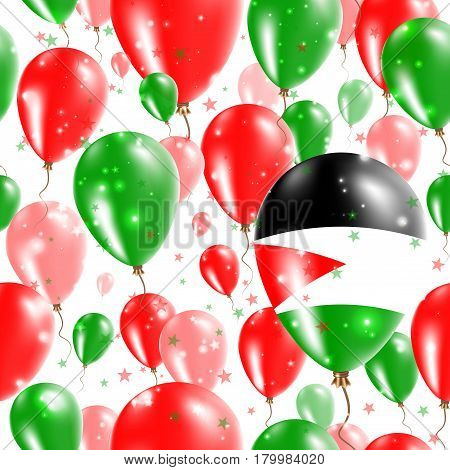 Palestine Independence Day Seamless Pattern. Flying Rubber Balloons In Colors Of The Palestinian Fla