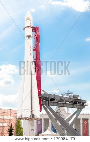 MOSCOW - MAY 8 2016: Vostok spaceship launcher in VDNKh park complex. This is a model of the rocket used for Yuri Gagarin's flight.
