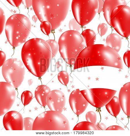 Austria Independence Day Seamless Pattern. Flying Rubber Balloons In Colors Of The Austrian Flag. Ha