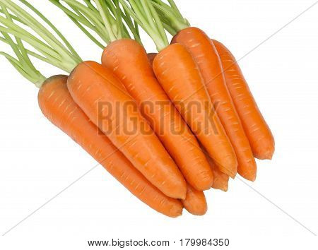 Carrot isolated on white background. Heap freshen and sweet of the carrots with stems.