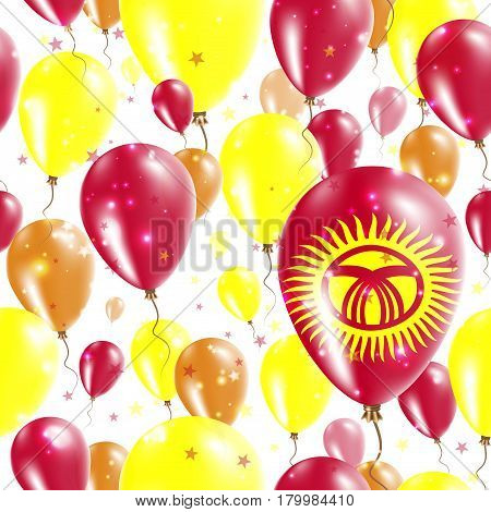 Kyrgyzstan Independence Day Seamless Pattern. Flying Rubber Balloons In Colors Of The Kirghiz Flag.