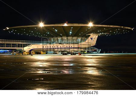 SHEREMETYEVO, MOSCOW REGION, RUSSIA - SEPTEMBER 12, 2012: Tupolev Tu-134 standing at Sheremetyevo international airport.