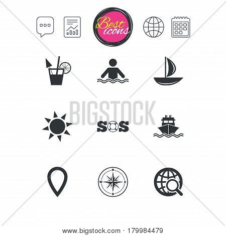 Chat speech bubble, report and calendar signs. Cruise trip, ship and yacht icons. Travel, cocktail and sun signs. Sos, windrose compass and swimming symbols. Classic simple flat web icons. Vector