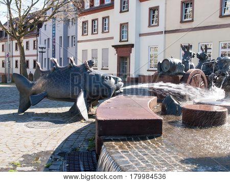 Kaiserslautern Germany - April 18 2015: Kaiserbrunnen von Friedrich Barbarossa und Rudolf von Habsburg