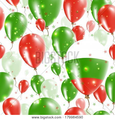 Bulgaria Independence Day Seamless Pattern. Flying Rubber Balloons In Colors Of The Bulgarian Flag.