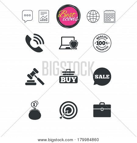 Chat speech bubble, report and calendar signs. Online shopping, e-commerce and business icons. Auction, phone call and sale signs. Cash money, case and target symbols. Classic simple flat web icons
