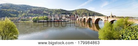 Heidelberg Germany - April 20 2015: Karl-Theodor-Brücke is one of the oldest in Germany known as early as 1248 on the banks of the river Neckar