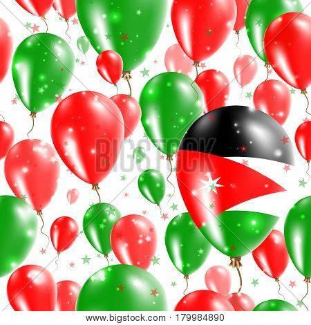 Jordan Independence Day Seamless Pattern. Flying Rubber Balloons In Colors Of The Jordanian Flag. Ha