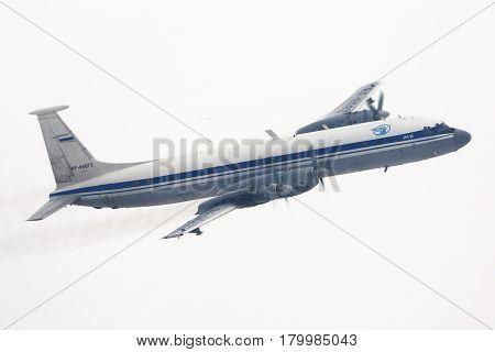 CHKALOVSKY, MOSCOW REGION, RUSSIA - MARCH 10, 2015: Ilyushin IL-22M of Russian Air Force making turn at Chkalovsky.
