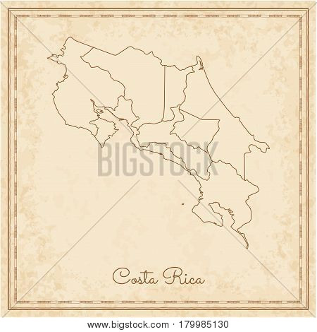 Costa Rica Region Map: Stilyzed Old Pirate Parchment Imitation. Detailed Map Of Costa Rica Regions.
