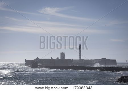 Castle of San Sebastian fortress on a smail island separated from the main city according classical tradition there was a Temple of Kronos cultural landmark of the city Cadiz Spain