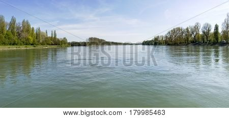 Buelhl am Rhein Germany: river Rhine panoramic