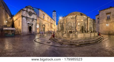 Panorama of Great Onofrio Fountain and Holy Saviour Church in the Evening Dubrovnik Dalmatia Croatia