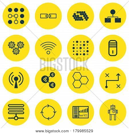 Set Of 16 Robotics Icons. Includes Variable Architecture, Controlling Board, Wireless Communications And Other Symbols. Beautiful Design Elements.