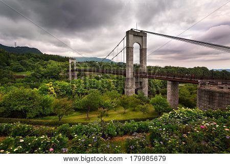 Bridge in Hadanotokawa Park on Overcast Day Hadano Kangawa Japan