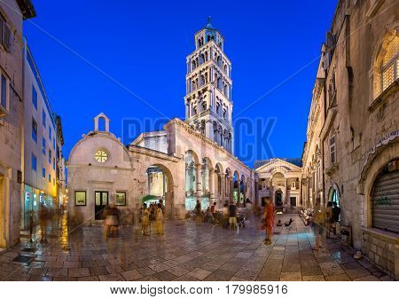 SPLIT CROATIA - JUNE 28 2014: The Peristyle of Diocletian's Palace in Split. Palace was built by emperor Diocletian in preparation for his retirement on 1 May 305 AD.