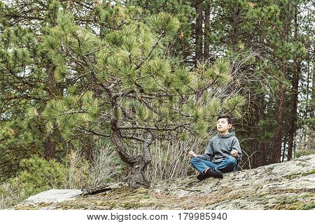 Boy enjoys calm meditation on a large rock by a tree.