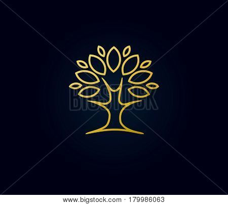 Gold tree linear logo. Abstract linear vector tree luxury logo icon design. Universal premium park nature and relax solid symbol
