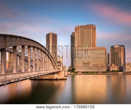 Kachidoki Bridge and Sumida River at Sunset Tokyo Japan