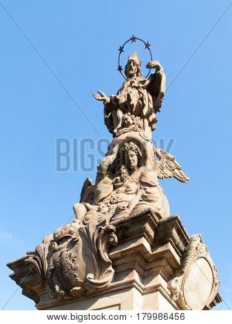 Statue On Karl-theodor-brücke