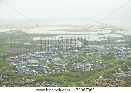 Aerial view of city Lelystad in The Netherlands