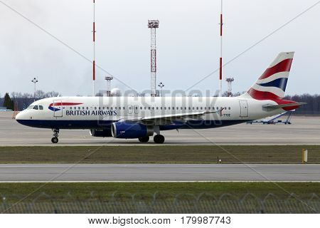 Borispol, Ukraine - March 25, 2017: British Airways Airbus A320-200 A320-200 aircraft running on the runway of Borispol International Airport on March 25, 2017. Editorial use only