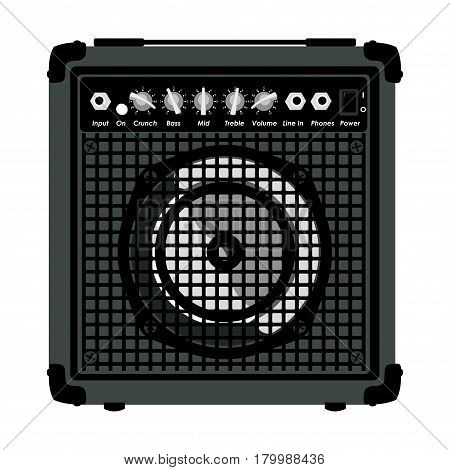 Combo Amplifier for electric guitar isolated on white background vector illustration.