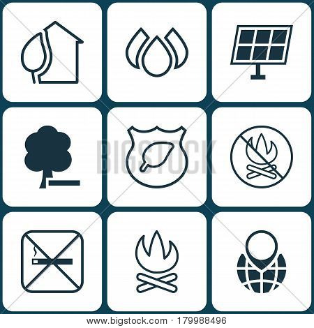 Set Of 9 Ecology Icons. Includes Guard Tree, Bonfire, Cigarette And Other Symbols. Beautiful Design Elements.