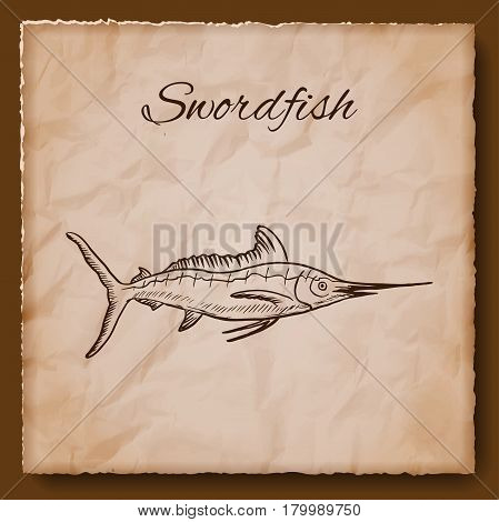Seafood vintage illustration. Template for menu or brochure with swordfish. Vector illustration