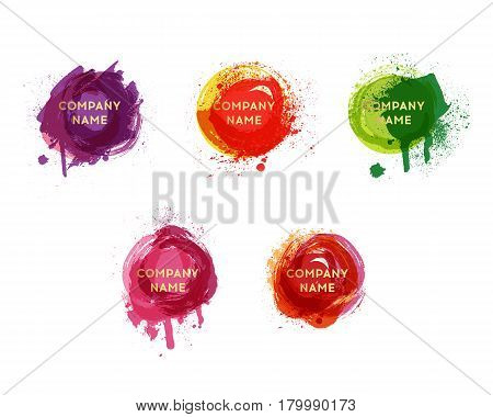 Vector watercolor background. Real watercolor texture. Watercolor splashes and dots texture. Artistic handdrawn background.Paint splat set.Paint splashes set for design use.Abstract vector illustration.